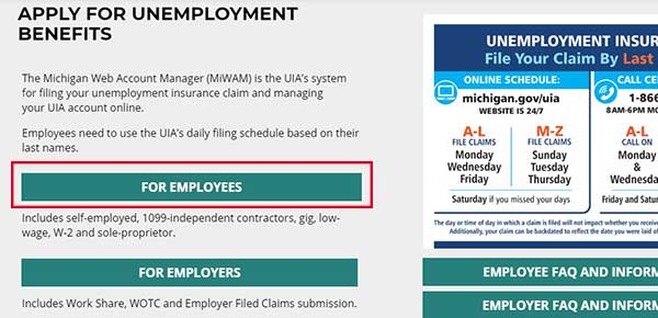file for pua for employees michigan