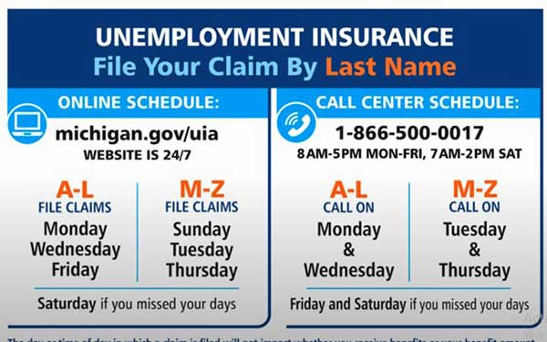 filing schedule michigan unemployment insurance
