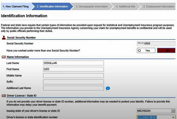 identificaction information to file a new claim on michigan unemployment insurance