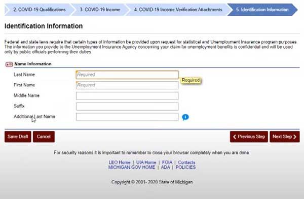 identification information for pua michigan unemployment