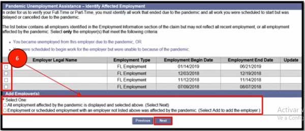 identify affected employment for pua benefits florida unemployment