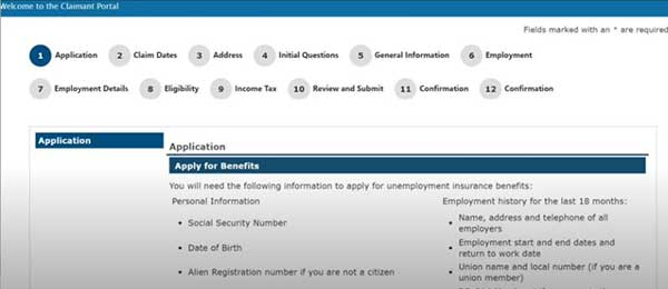 apply for benefits screen to apply for maryland pua claimant application