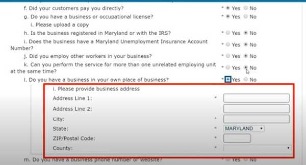 business address on eligibility information to apply for pua in maryland