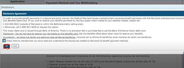 disclosure agreement to apply for pua in maryland