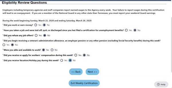 eligibility questions review in job4tn on tn unemployment