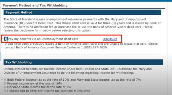 payment method and tax withholding to apply for pua in maryland