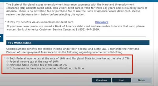 tax withholding option to apply for pua in maryland