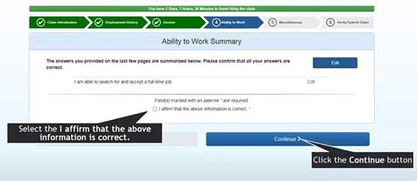 ability to work summary to file a new claim on indiana unemployment insurance