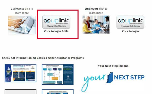 click on claimant self service button to file for unemployment indiana benefits