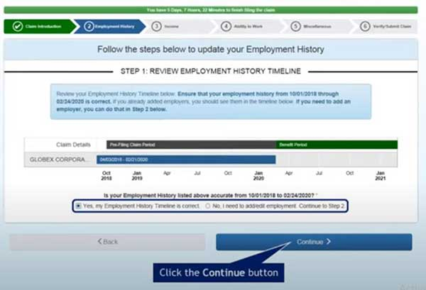 review employment history timeline to file a new claim on indiana unemployment insurance