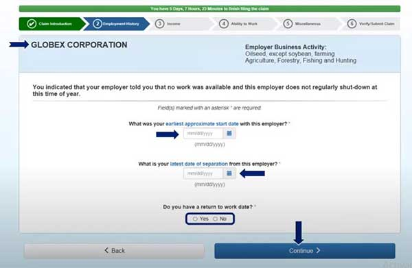 start and separation date to file a new claim on indiana unemployment insurance