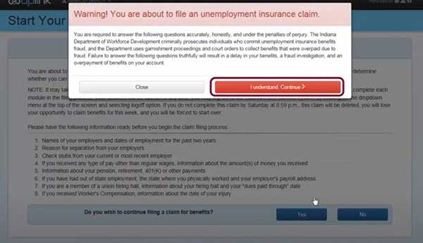 warning to file a new claim on indiana unemployment insurance