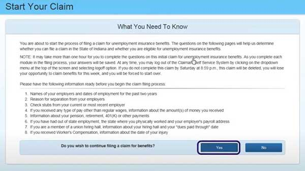 what do you need to know to file a new claim on indiana unemployment